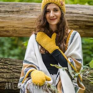 musztardowa czapki produkt robiony ręcznie na drutach, w poznaniu