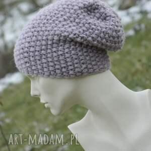 Gruba z alpacą ciepła czapka pastel pink - ręcznie zrobione pastelowa na zimę