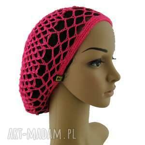 hand-made czapki czapka jaskraworóżowa plażowa siatka na
