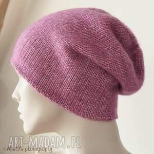 handmade czapki wełna jesienna fuksja