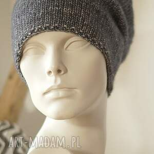 handmade czapki czapka jesienna grafitowa