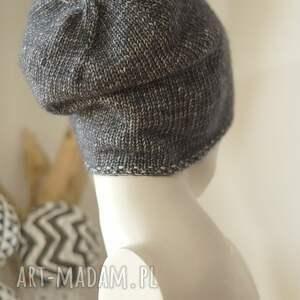 handmade czapki dziergana jesienna grafitowa