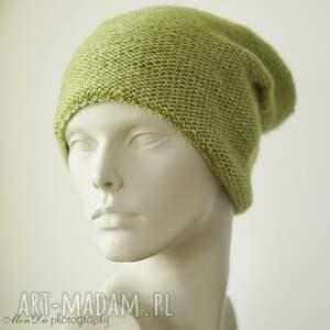 handmade czapki bawełniana jesienna limonkowa