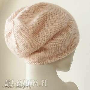 czapki dziergana jesienna różana