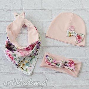 różowe czapki czapka komplet dla dziewczynki: