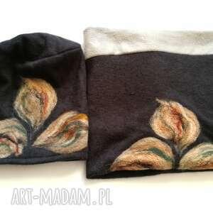 etno czapki komplet filcowy ciepły welna