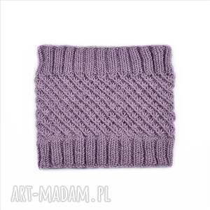 czapka czapki fioletowe komplet lawenda merynos dziecięcy