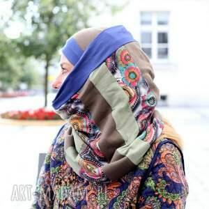 czapki czapka komplet patchworkowy dzianinowy