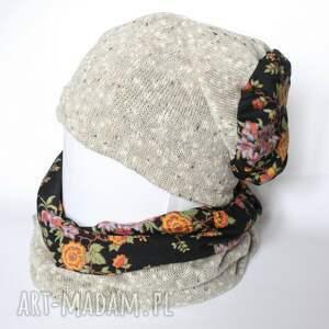 czapki chusta komplet zimowy damski retro kolor
