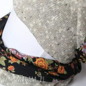 chusta czapki komplet zimowy damski retro kolor