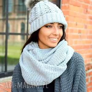 czapki szalik komplet zimowy komin czapka szara