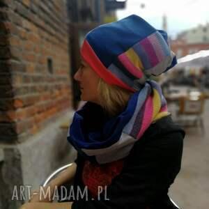 etno czapki komplet zimowy damski boho