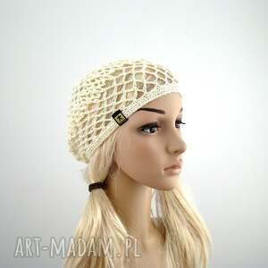 beret czapki kremowa ażurowa czapeczka - siatka