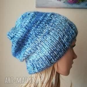 czapki lihgt blue czapka z jedwabiem
