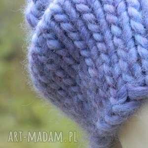 dziergana czapka na zimę czapki mega gruba, designerska