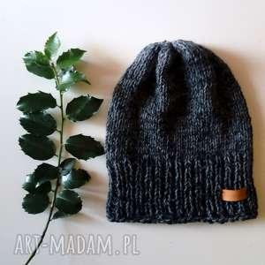 czapki męska czapka wykonana bezszwowo na drutach