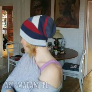 czapki wełna męska damska paski czapka