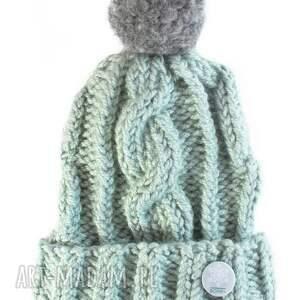 zielone czapki zima miętowa ręcznie robiona czapka