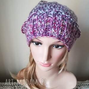 rękodzieło czapki fioletowe wyjątkowo ciepła, dwustronna, bezszwowa czapka