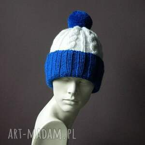 Aga made by hand oryginalne czapki dwukolorowa narciara czapka w warkocze:)