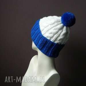ciepła czapki niebieskie narciara czapka w warkocze:)