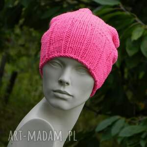 handmade czapki neon * różowy krasnal wool