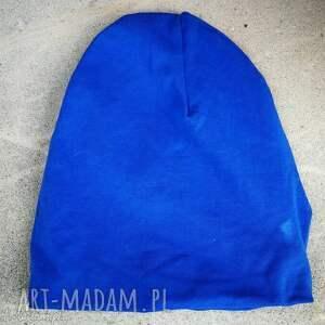 niebieska dzianinowa czapka unisex unirozmiar dzianina