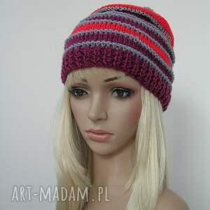 handmade czapki czapka pasiasta szary - czerwony