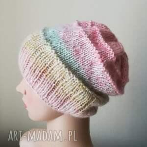 ręcznie robione pastelowa impresja czapka