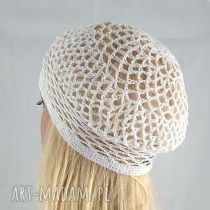 czapki bawełna letnie nakrycie głowy; ażurowa