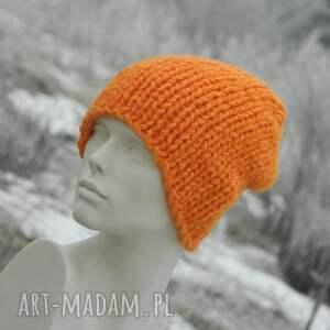 czapki alpaca pomarańczowy grubas * czapka