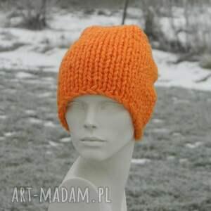 czapki ciepła czapka na zimę pomarańczowy grubas czapa