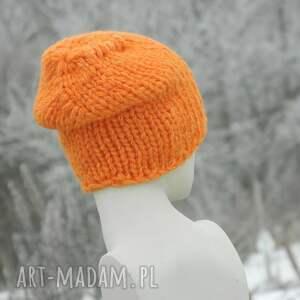 hand made ciepła czapka na zimę pomarańczowy grubas czapa