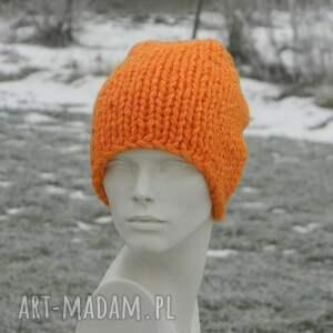 hand made czapki gruba pomarańczowy grubas * czapka