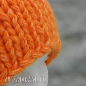 hand made czapki alpaca pomarańczowy grubas * czapka