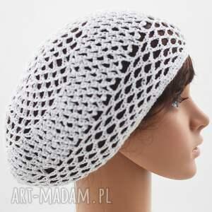 plażowa czapki siatka biała