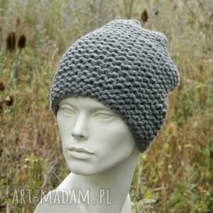 dziergana czapki stalowa na prawo grubaśna zimowa