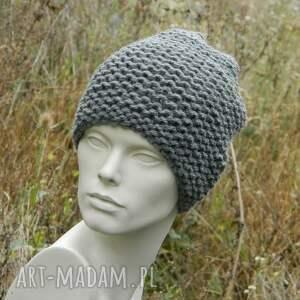 antracytowa czapki stalowa na prawo * grubaśna zimowa