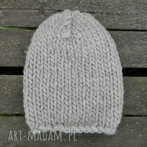 czapki wełniana syberianka beż 100% wool