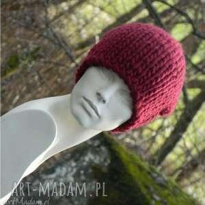 ciekawe czapki ciepła syberianka bordo 100% wool