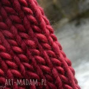czerwone czapki ciepła syberianka bordo 100% wool