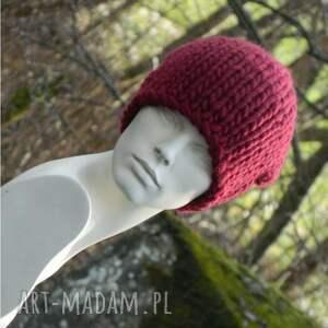 oryginalna czapki syberianka bordo * 100% wool *