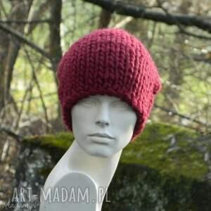 gruby ścieg czapki syberianka bordo 100% wool