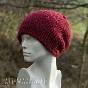 ciekawe czapki gruby ścieg syberianka bordo 100% wool