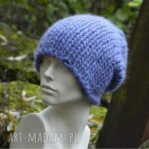 fioletowe czapki gruba syberianka lilac 100% wool