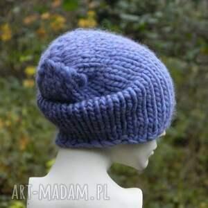 handmade czapki ciepła syberianka lilac 100% wool