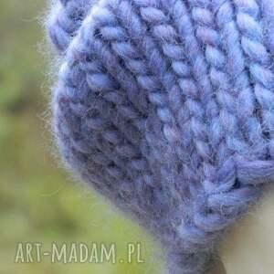 handmade czapki gruba syberianka lilac 100% wool