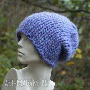 wełniana czapki syberianka lilac 100% wool