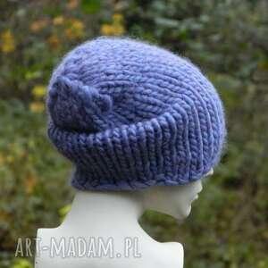 zimowa czapki syberianka lilac 100% wool