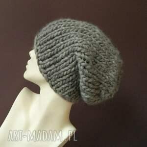 grubaśna czapki szare syberianka 100% wool ciepła
